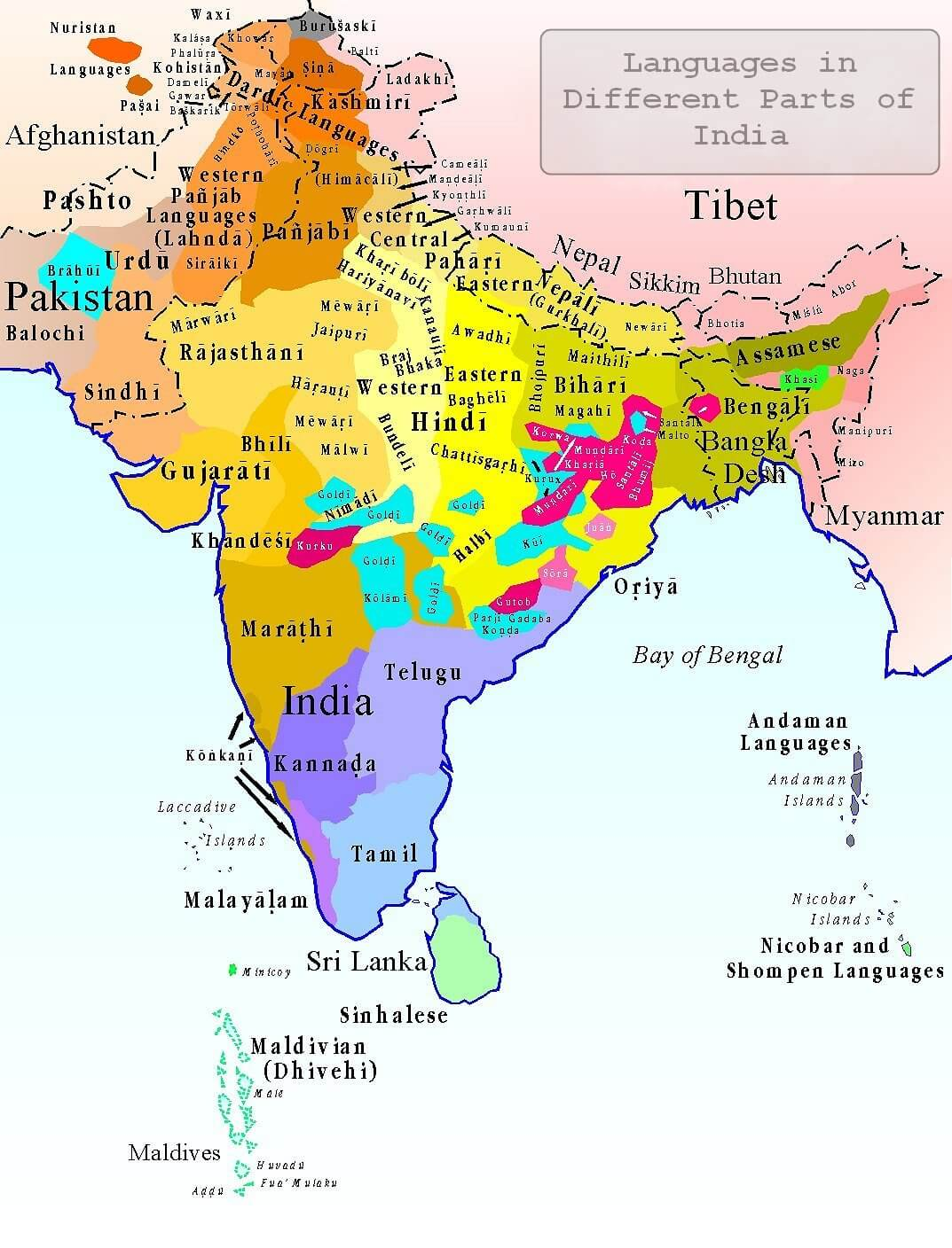 Languages in Different parts of India