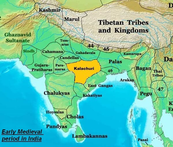 Map of Early Medieval period in India