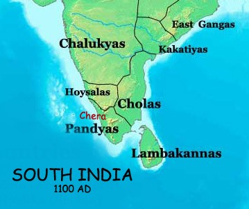 Chalukya, Chola and Pnadya Dynasty in Map